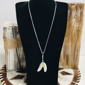 """Silver Turquoise Feather Boho Tribal 18"""" Necklace"""